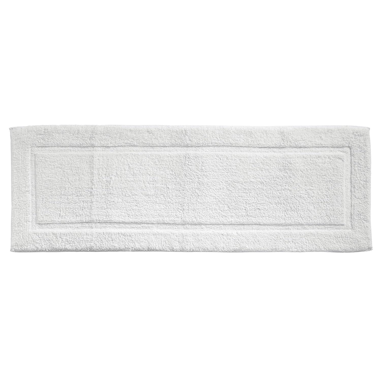 mDesign 100% Cotton Luxury Rectangular Spa Mat Rugs, Plush Water Absorbent, Decorative Border - for Bathroom Vanity, Bathtub/Shower, Machine Washable - Runner, Standard & Small Rug - Set of 3, Linen MetroDecor