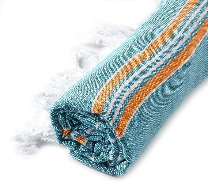 Cacala Toalla de baño Turco, Modelo Paradise, algodón, Azul Turquesa, Naranja, 95 x 175 x 0.5 cm: Amazon.es: Hogar