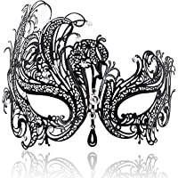 FaceWood Masquerade Mask for Women Ultralight Metal Mask Shiny Metal Rhinestone Venetian Pretty Party Evening Prom Ball…