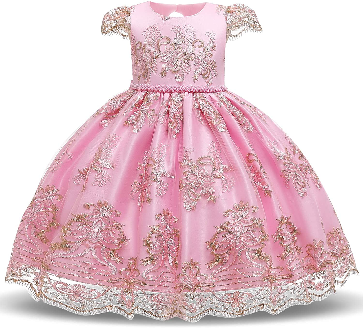 TTYAOVO Girls Embroidered Lace Sleeveless Tulle Flower Princess Party Dresses Back Bow