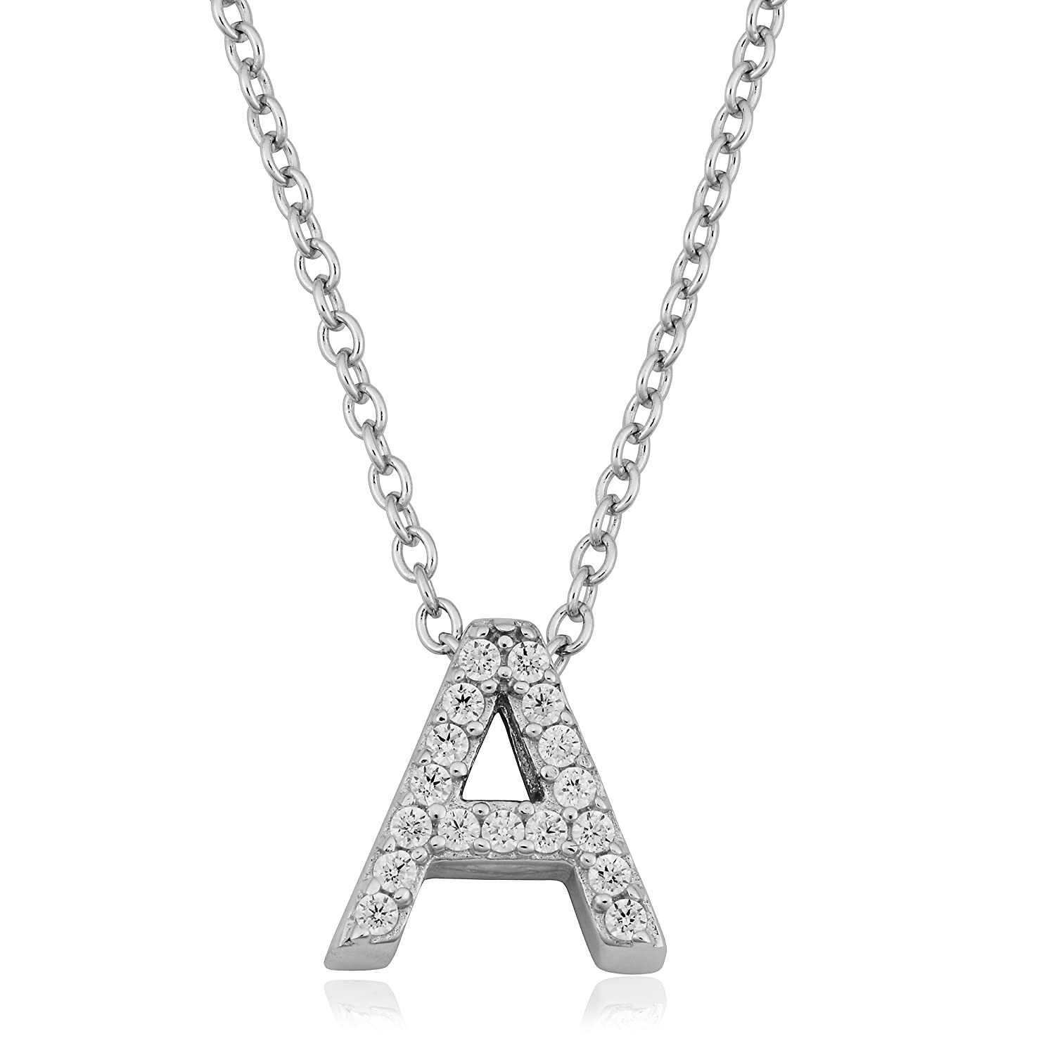 f7e1e63b1350 Amazon.com  Kooljewelry Sterling Silver and Cubic Zirconia Letter A Initial  Necklace (18 inch)  Jewelry