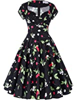 Belle Poque Women 1950s Style Cap Sleeve Floral Vintage Wiggle Dress