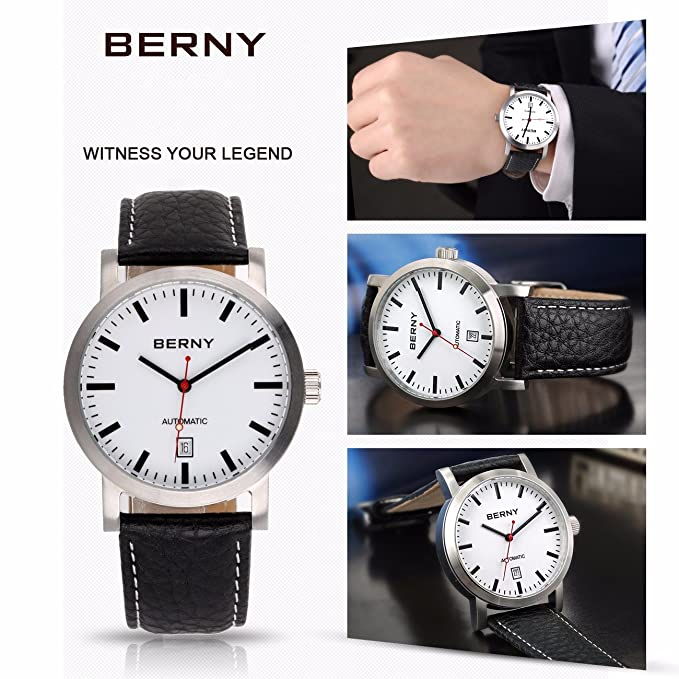 Amazon.com: Berny AM7068 Men Calfskin Automatic Watch, Date Display, 50 M Waterproof, All Steel Design: Watches