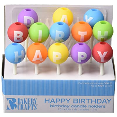 Oasis Supply Happy Birthday Letter Candle Holders with Candles, 2.5-Inch: Decorative Cake Toppers: Kitchen & Dining
