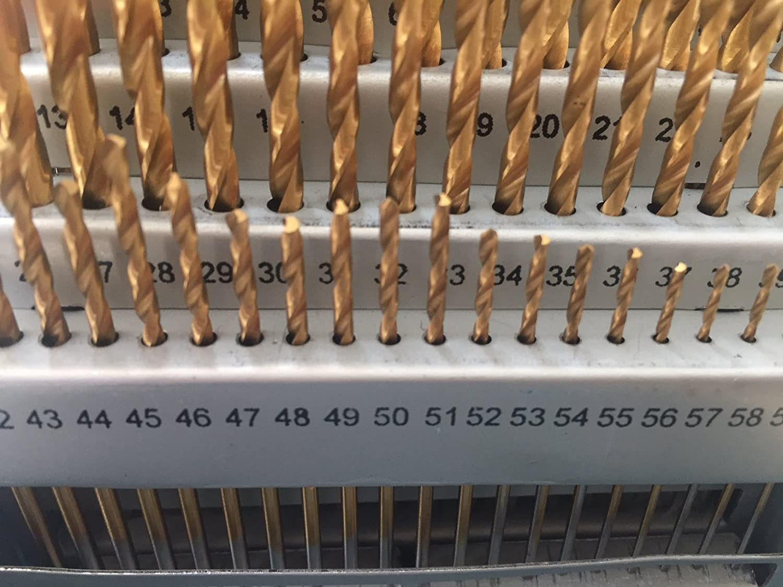 0.228-0.040 LLDSIMEX 60 Piece 1#-60# Titanium Nitride Coated Numbered Drill Bit Set High Speed Steel