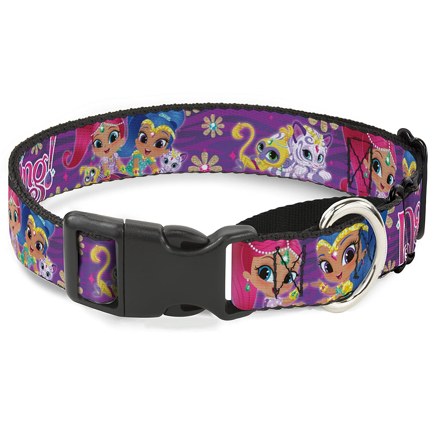 Buckle-Down Shimmer & Shine Pets Poses Flowers BE Dazzling  Purples Pinks  Martingale Dog Collar, 1  x 9-15  Small