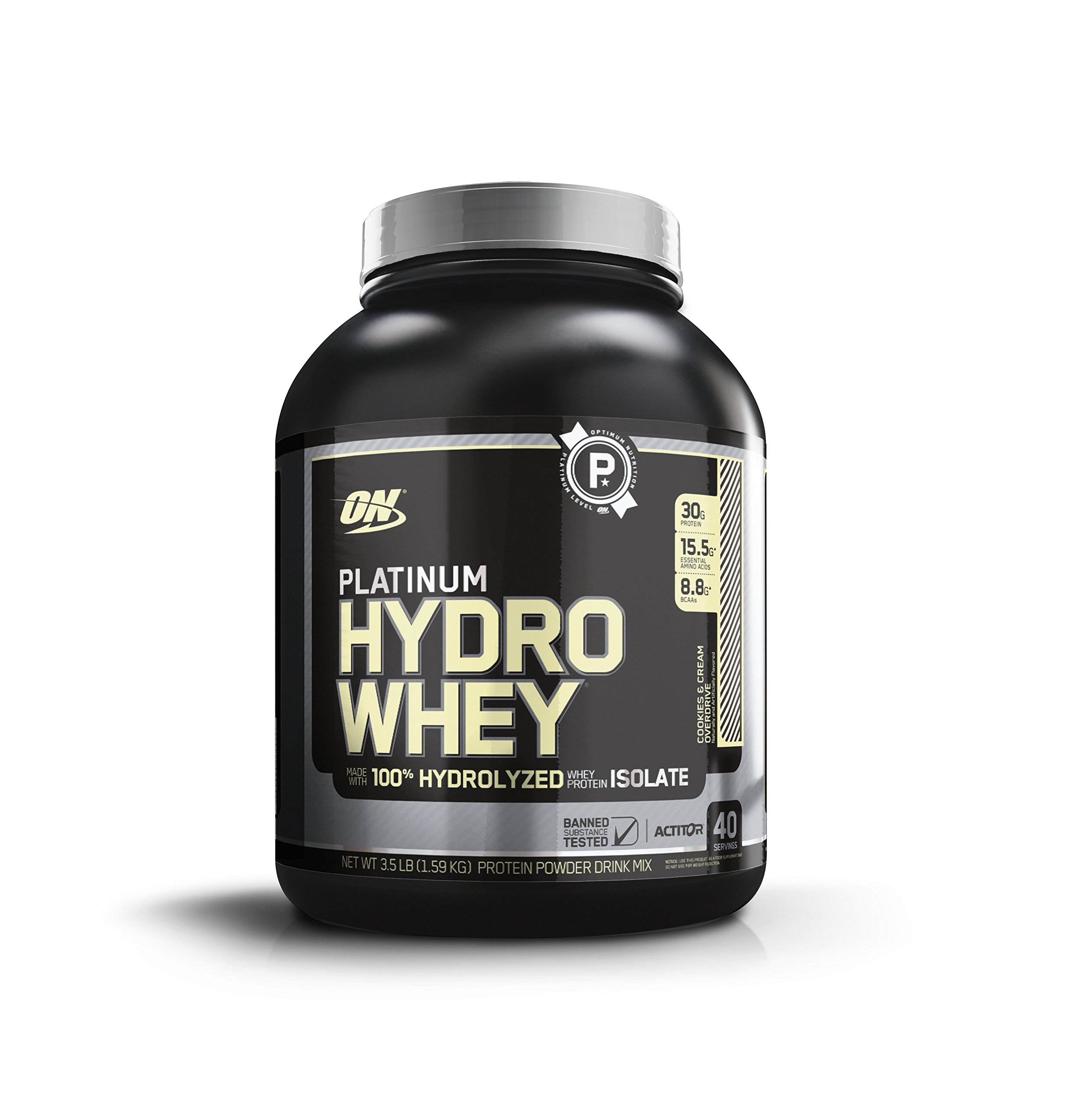Optimum Nutrition Platinum Hydrowhey Protein Powder, 100% Hydrolyzed Whey Protein Isolate Powder, Flavor: Cookies & Cream Overdrive, 3.5 Pounds