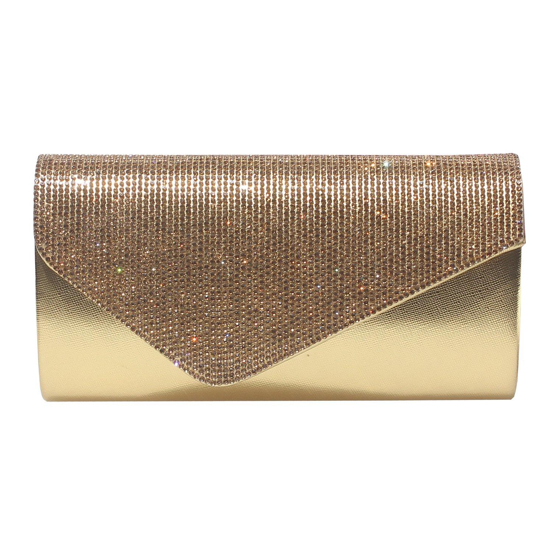 GESU Womens Rhinestone Clutch Purse Evening Bags Wedding Party Cocktail Handbag.(Gold)