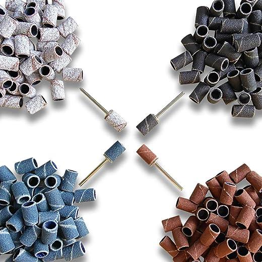 400pcs Sanding Bands #80#120#180#240 100pcs for Each Grit Coarse Meduim Fine Grit for Acrylic Nails Drill E-file 3/32'' Gel Nails
