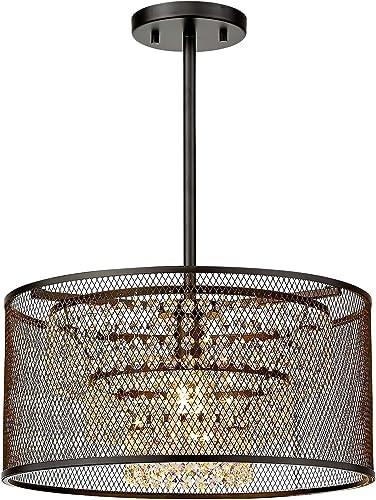 Industrial Crystal Pendant Ceiling Light Fixture
