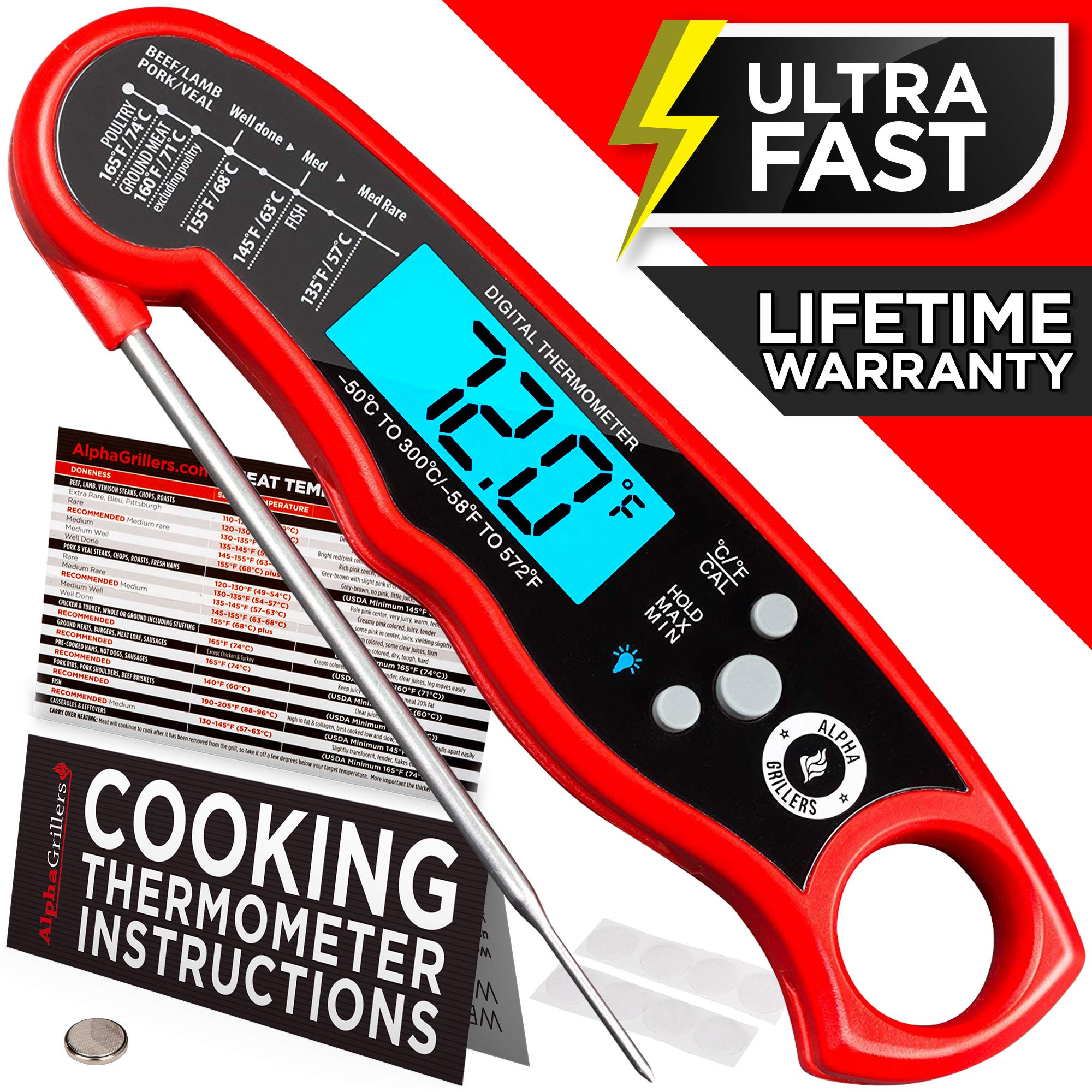 Alpha Grillers Instant Read Meat Thermometer for Grill and Cooking. Upgraded with Backlight and Waterproof Body. Best Ultra Fast Digital Kitchen Probe. Includes Internal BBQ Meat Temperature Guide by Alpha Grillers