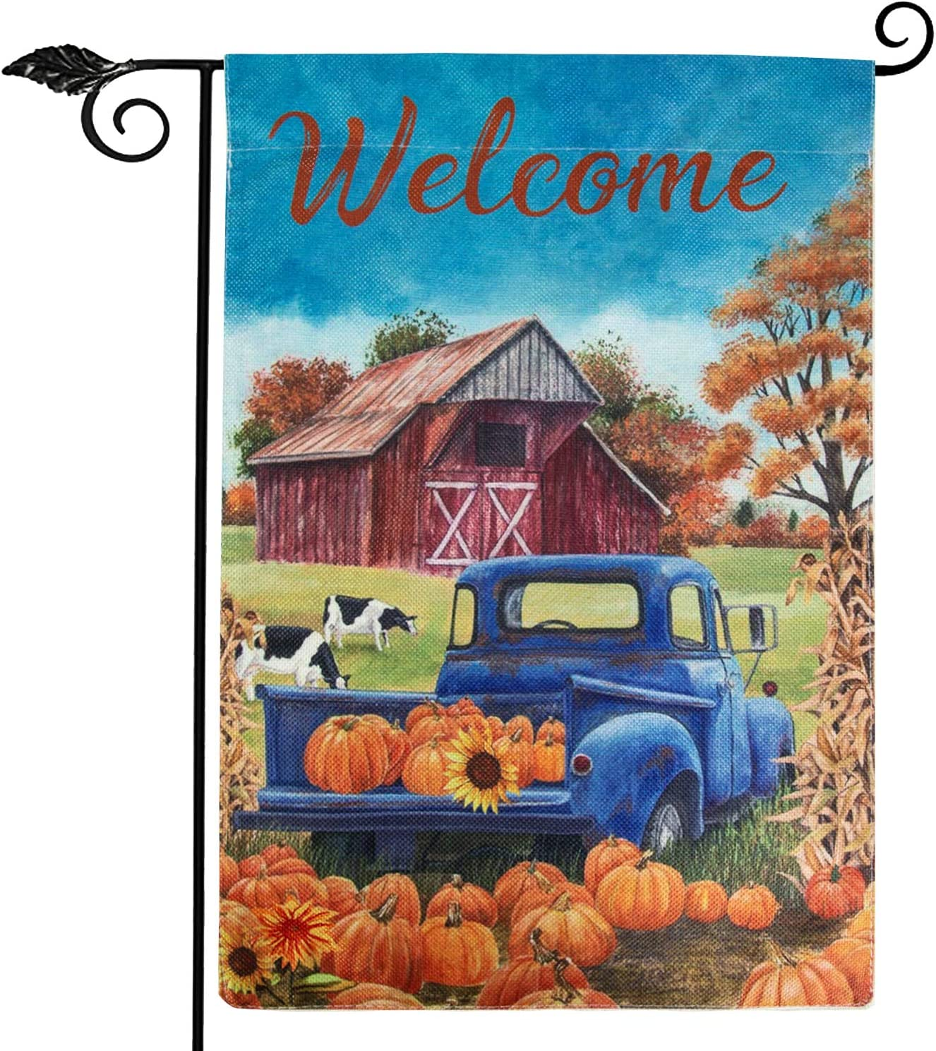 Farmhouse Fall Garden Flag, Vertical Double Sided Welcome Burlap Thanksgiving Flag with Farm Truck Harvest Pumpkin Sunflowers Yard Decorations for Atumn and Thanksgiving Day 12.5x18