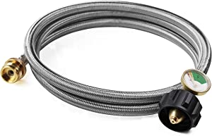 DOZYANT 6 Feet Stainless Braided Propane Hose Adapter with Propane Tank Gauge, 1 lb to 20 lb Propane Converter Hose for Propane Stove, Tabletop Grill and More 1lb Portable Appliance