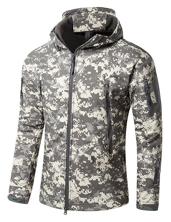 Amazon.com: YFNT Mens Softshell Tactical Hooded Jacket Military Fleece Jacket Outdoor Coat: Clothing