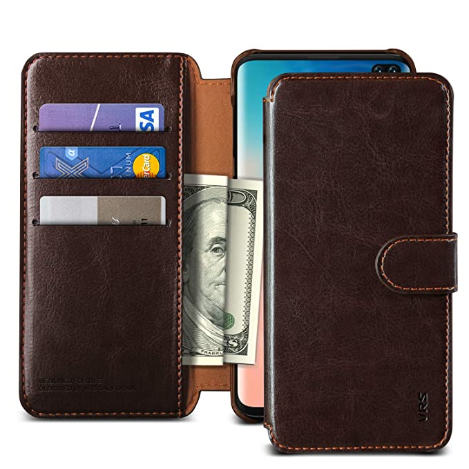 9854a969812d Galaxy S10 Plus Case VRS Design Slim Leather Wallet Case Magnetic  Protective Card Holder [Layered Dandy] [Coffee Brown] Premium Card Slot  Cover ...