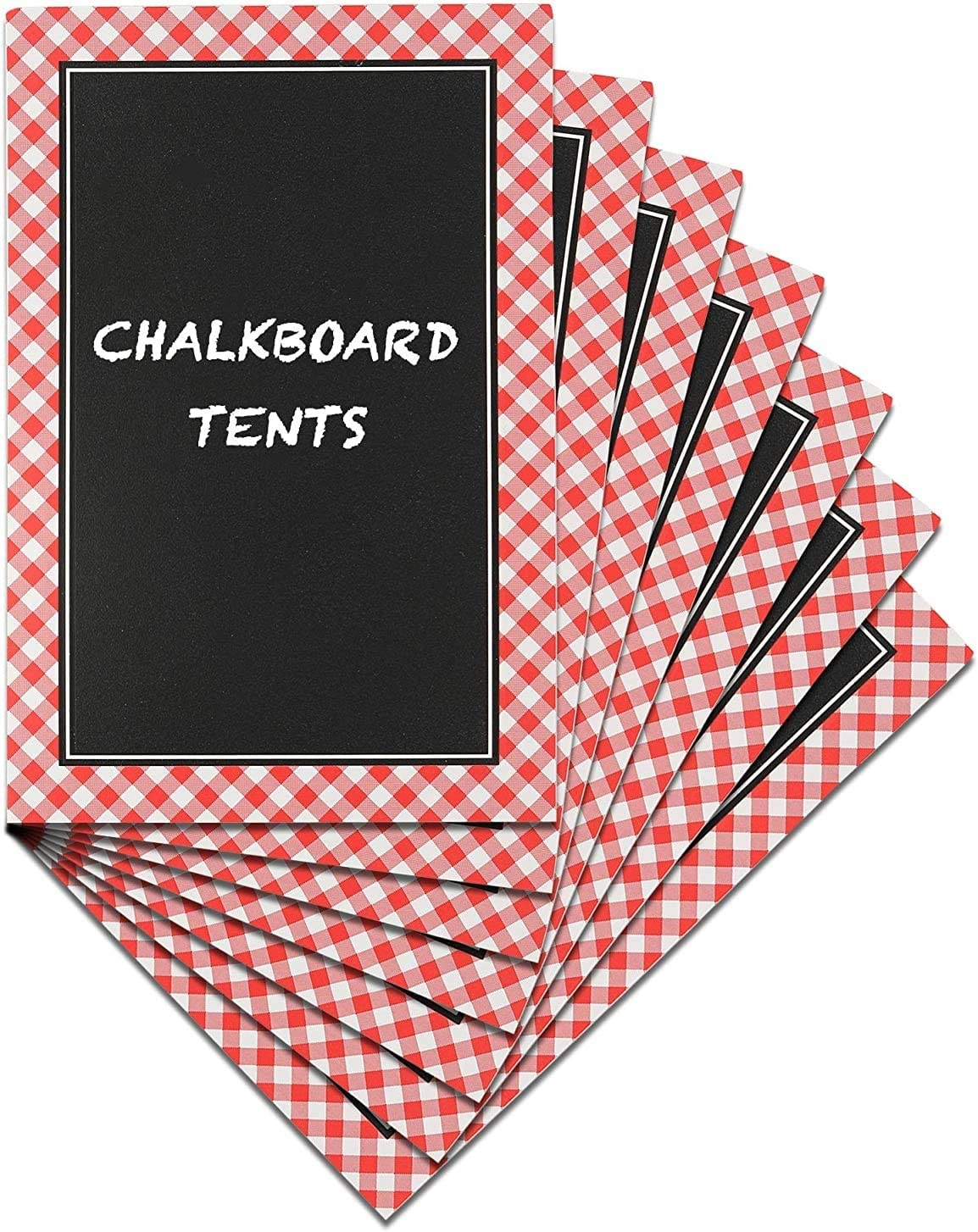 Ram-Pro Picnic Party Chalkboard Tent Cards Mini Kitchen Dry Erase Chalk Board Sign Standing Double Sided Mini Blackboard Multi Color Tabletop Red Tent Cards for Party Buffet Store and Decoration