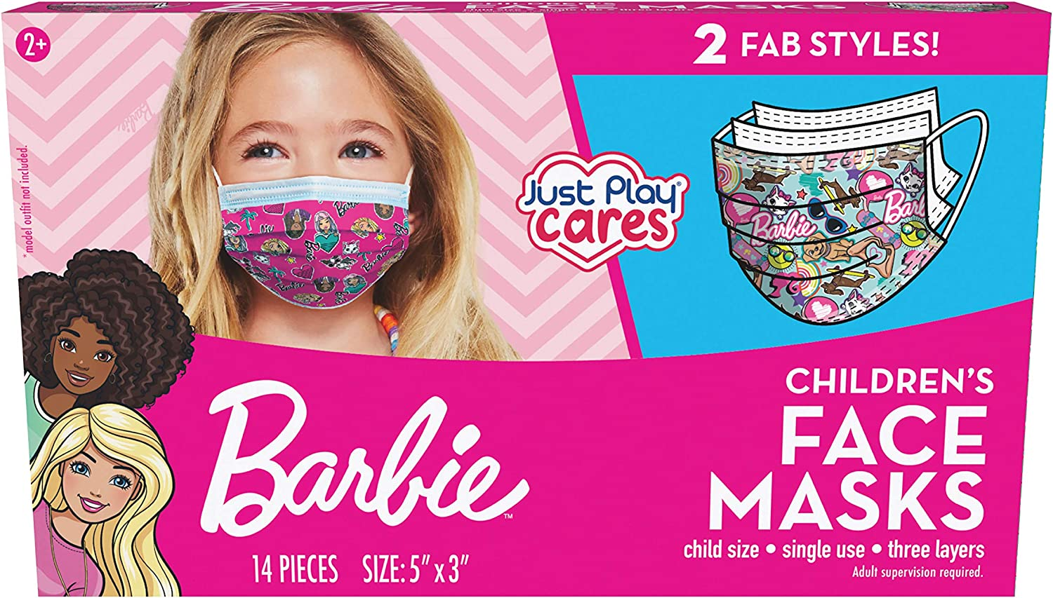 Barbie Children's Single Use Face Mask, 14 Count, Small, Ages 2-7, Multi (61052)