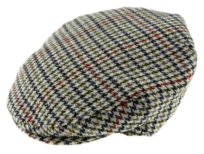 412f4751e89 Harris Tweed Mens Beige Houndstooth Wool Blend Flat Cap  Amazon.co.uk   Clothing