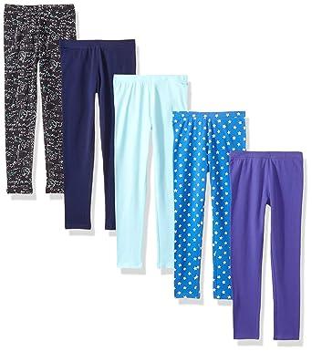 4d556a3c857bc Amazon Brand - Spotted Zebra Girls' Little Kid 5-Pack Leggings, Blue Star
