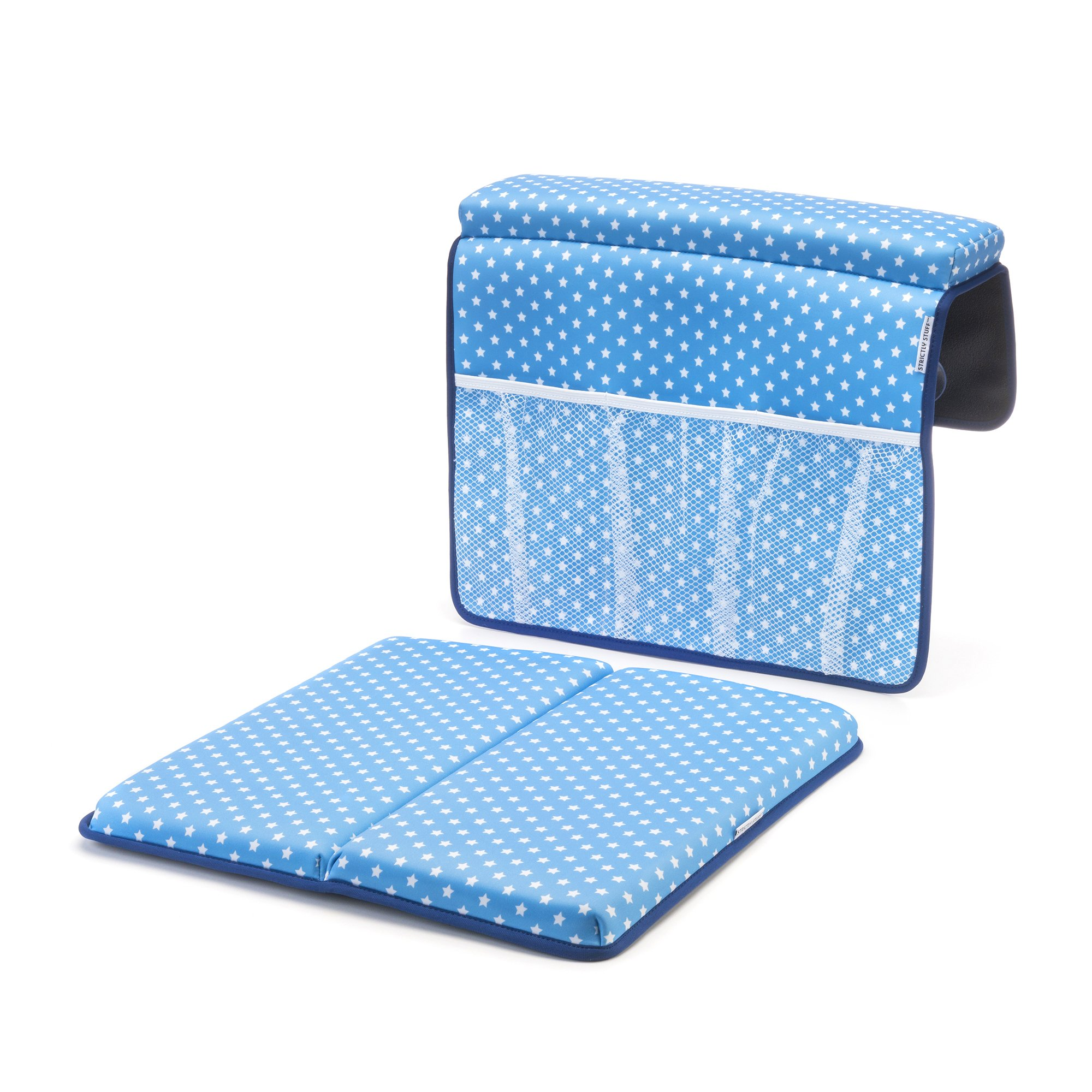 Strictly Stuff Baby Bath Kneeler and Elbow Pad (Blue). Thick, Soft Knee Padding. Durable Neoprene Material and Design. Non-Slip Backing with Suction Cups. Fits All tubs. Three Great Color Patterns.