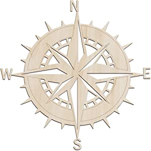 Ambesonne Nautical Wooden Wall Art, Windrose Marine Themed Sailor Sea Motif, Birch Wood Plywood Rustic Wall Art Accent for Hallway Bedroom Living Room Cafes and Offices, 11.4