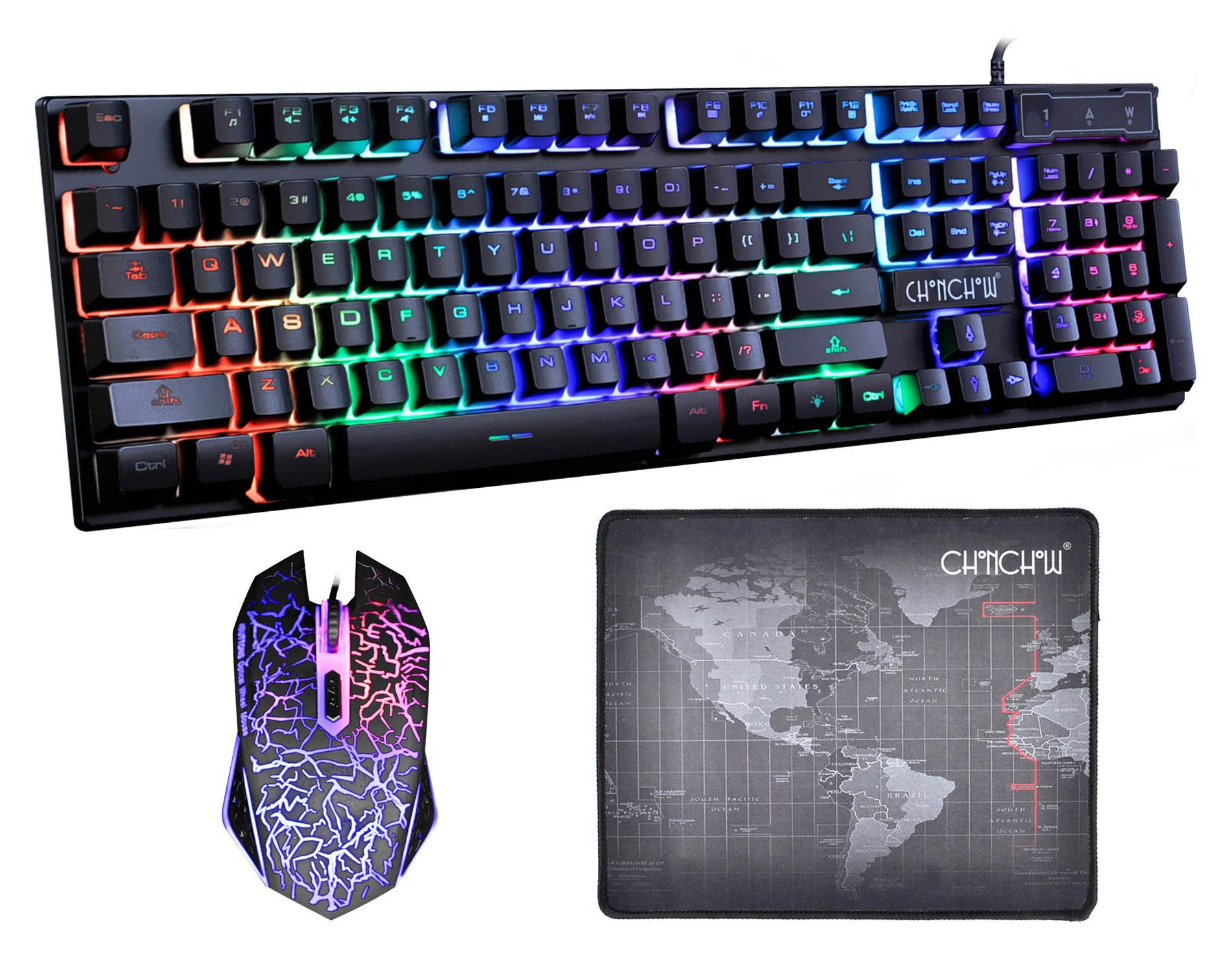 CHONCHOW LED Backlit Wired Gaming Keyboard and Mouse Mousepad Combo US Layout USB Keyboards Mechanical Feel with Mutilmedia Keys Character Illuminated for Windows Mac,1910B