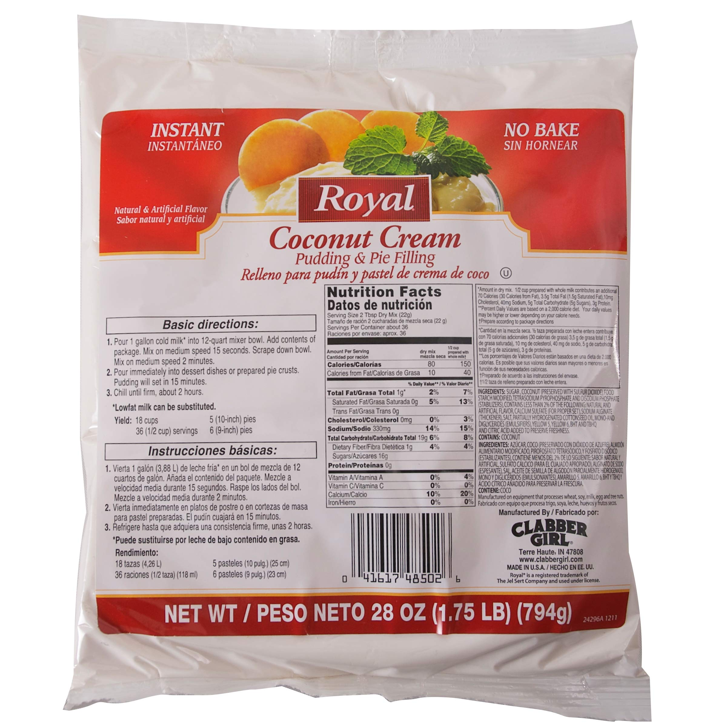 Royal Coconut Cream Instant Pudding 12 Count 28 Ounce