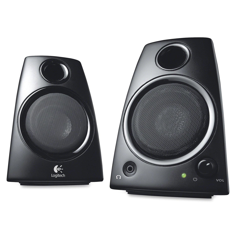 Logitech Z130 2-Piece 3.5mm Black Compact Computer Multimedia Speaker Set Renewed
