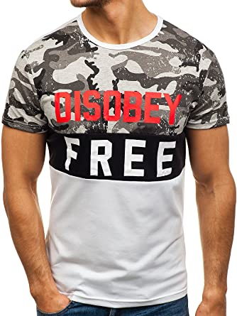 T-Shirt Tee Rundhals Classic Kurzarm Slim Fit Aufdruck Print Herren BOLF Motiv