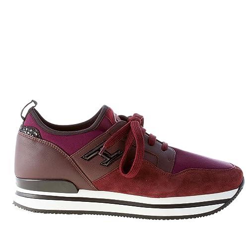 HOGAN scarpe donna H222 sneaker scuba pelle camoscio bordeaux tessuto scuba sneaker glitter 730de3