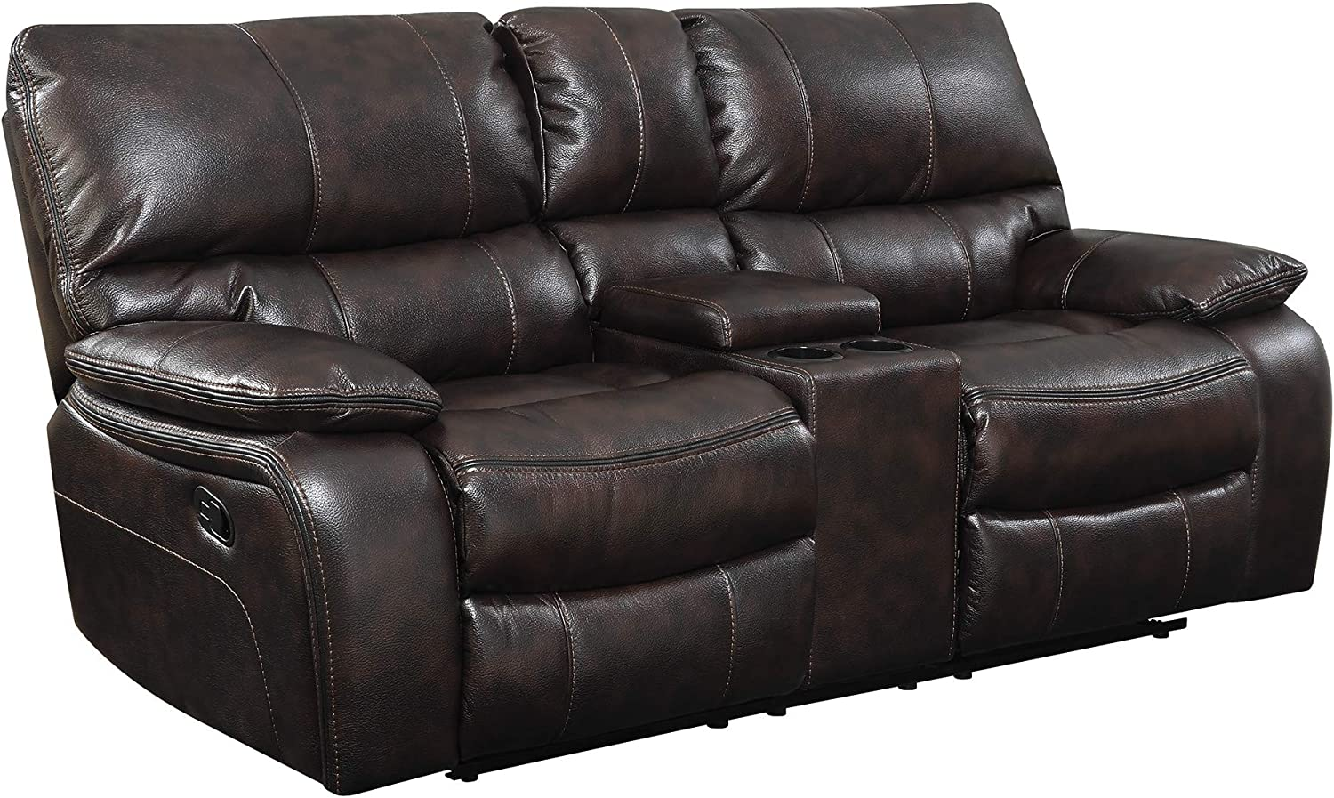 leather reclining loveseat with cup holders
