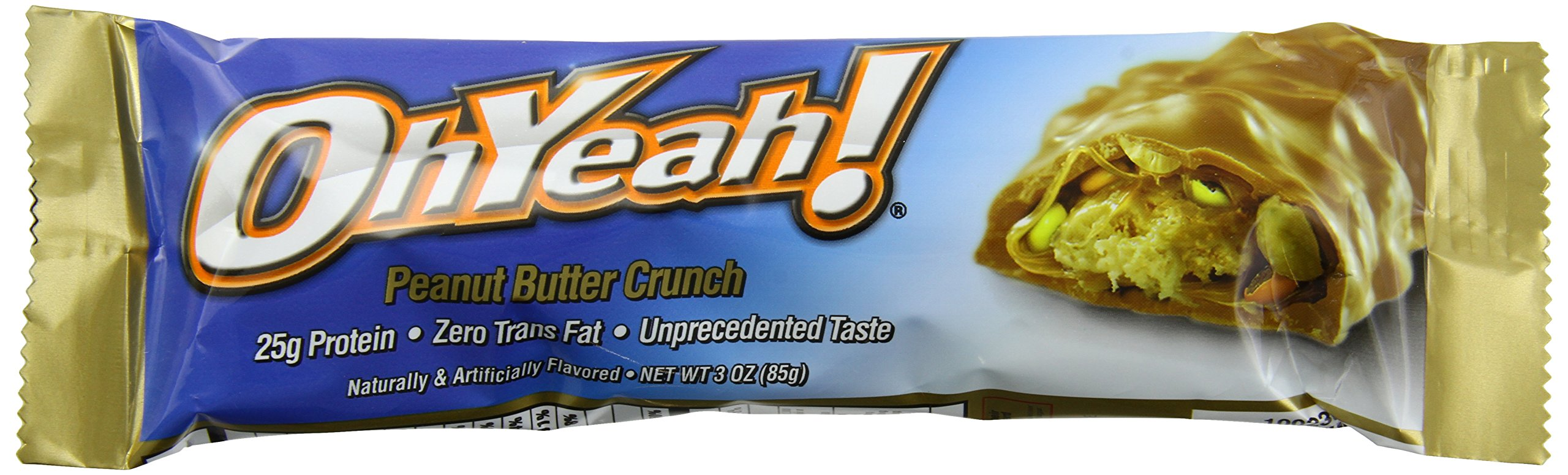 ISS Research Ohyeah! Bars, Peanut Butter Crunch, 3 Oz, 12-Count (Pack of 4)