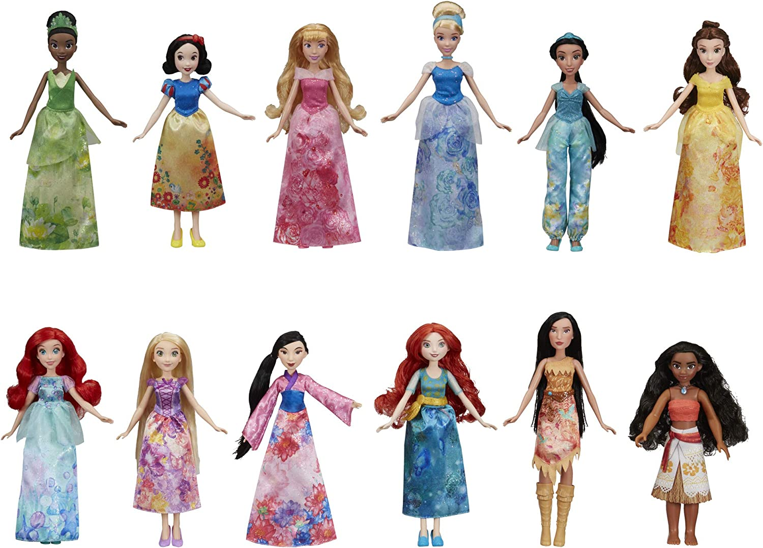 Amazon Com Disney Princess Royal Collection 12 Fashion Dolls Ariel Aurora Belle Cinderella Jasmine Merida Moana Mulan Pocahontas Rapunzel Snow White Tiana Amazon Exclusive Toys Games