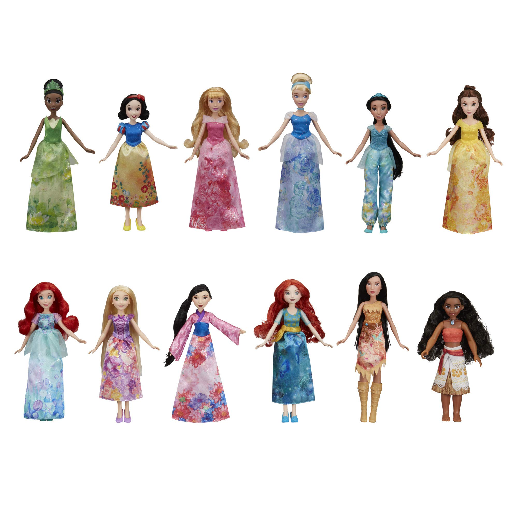 Disney Princess Royal Collection, 12 Fashion Dolls — Ariel, Aurora, Belle, Cinderella, Jasmine, Merida, Moana, Mulan, Pocahontas, Rapunzel, Snow White, Tiana (Amazon Exclusive)