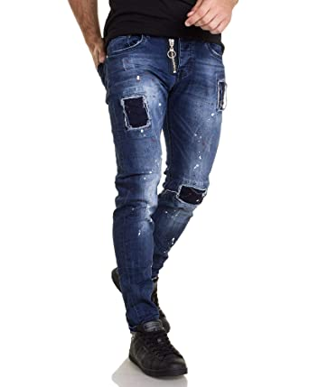 Blz Jeans PeintureAmazon Bleu Déchiré De Jean Homme 1151 Tâches 5AR43jL