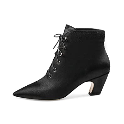 Women's Black Horse Pony Hair Fur Dress Booties Chunky Low Heel Lace Up Ankle Boots