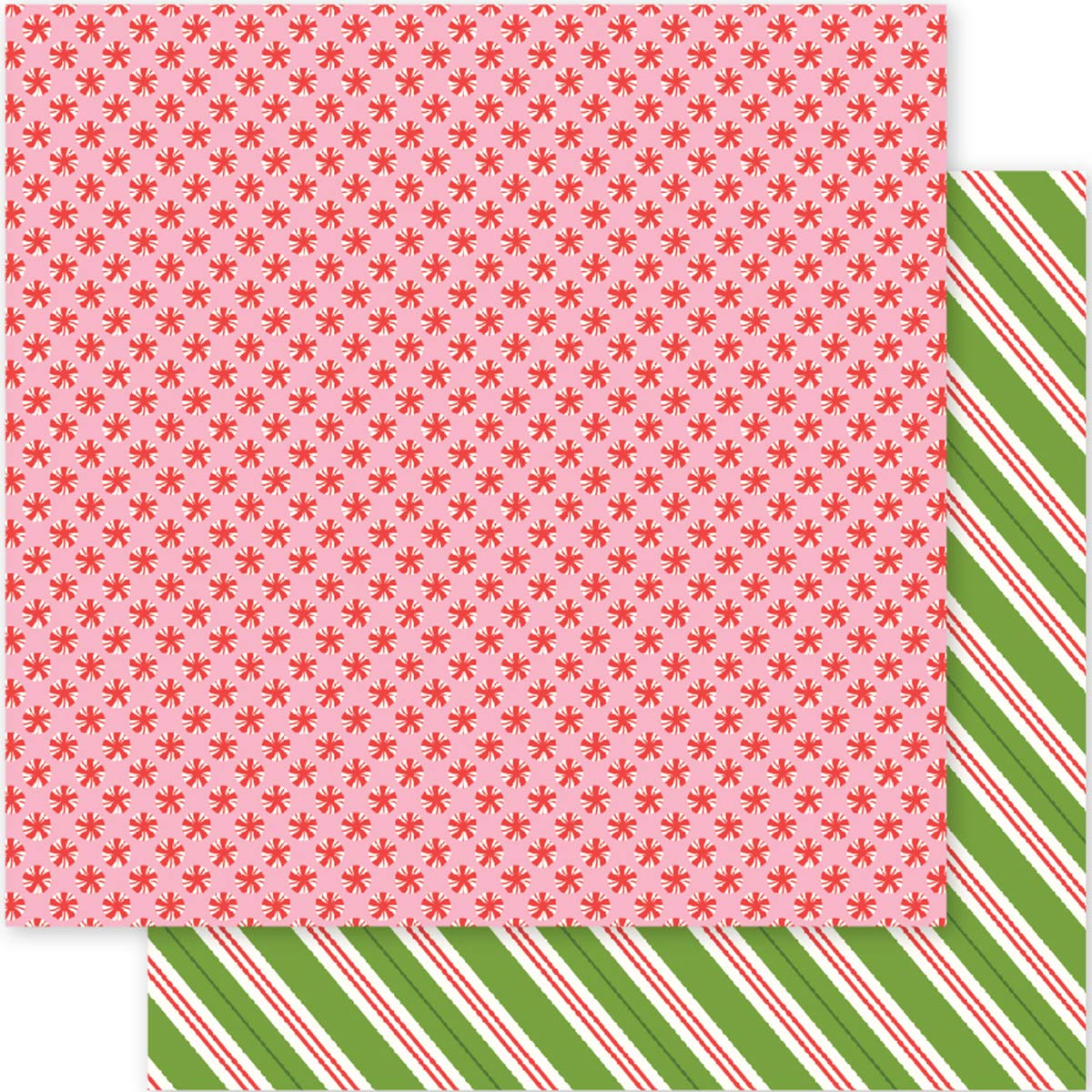 Pebbles Holly Jolly Collection Christmas 12 X 12 Double Sided Paper Peppermts (6 Pack)