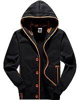 YuKaiChen Men's Fleece Hoodie Button-up Jacket Hooded Sweatshirt