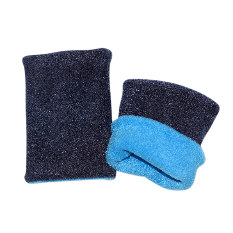Kuschelige Wende Stulpen • Pulswärmer, Kurz-Stulpen (dunkelblau, hellblau)   brit-M
