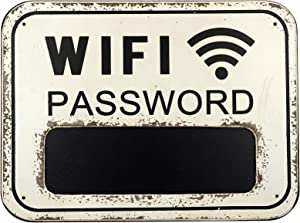 WiFi Password Sign Made from Distressed Weathered Surface Wood. Includes a Mini Chalkboard to Display WiFi Password (White)