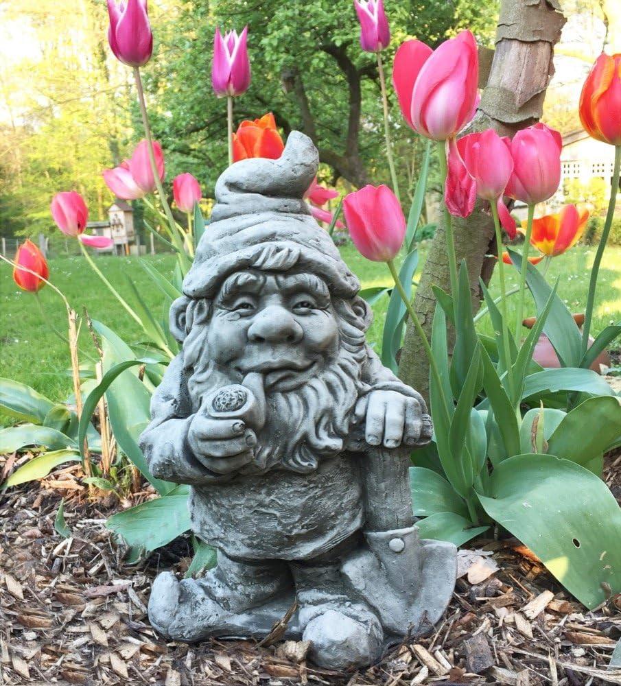 Antikas - Enano de Piedra decoración jardín - Enano con Pipa de Fumar y Pala - Estatua gnomo de jardín Enanos Decorativos: Amazon.es: Jardín