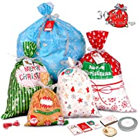 Lot de 30 grands sacs cadeaux de Noël avec étiquette et rubans