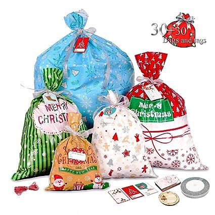 30 bolsas grandes de regalo de Navidad con etiqueta de ...