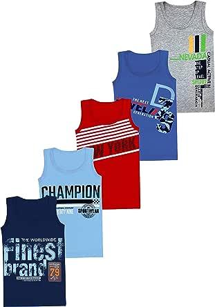 LOREZA ® 5 Camisetas de niño Camiseta sin Mangas de algodón - Camuflaje - 2-15 años