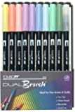 Tombow Dual Brush Pen Set, 9 Pastel Colors Plus Brush Pen, 10 Piece Set (56146)