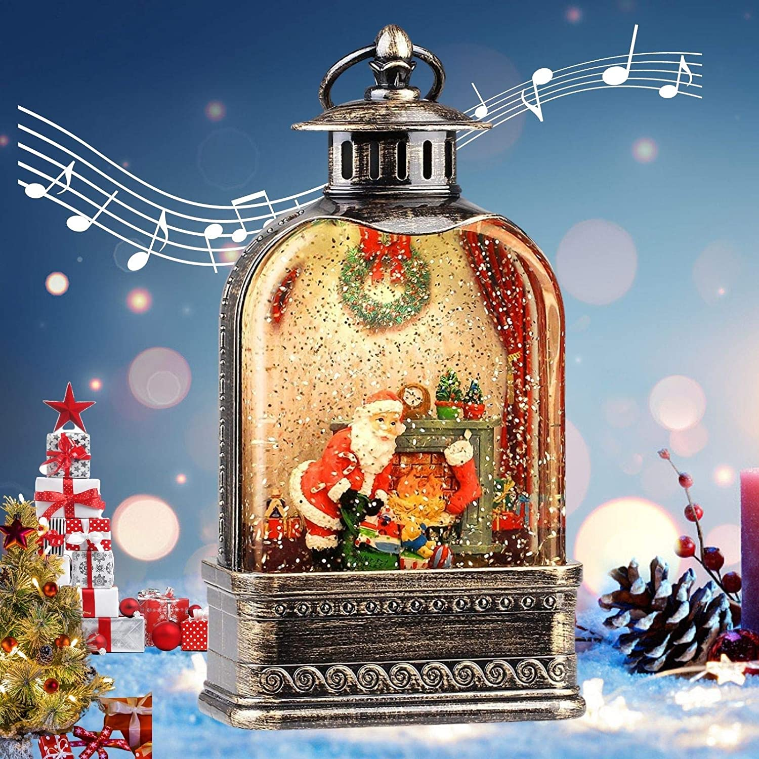 Christmas Snow Globe Lantern with Santa and Fireplace, Xmas Glitter Musical Water Lanterns, 11in USB/3AA Battery Operated 6H Timer Church Water Globe Lamp, Party Decor