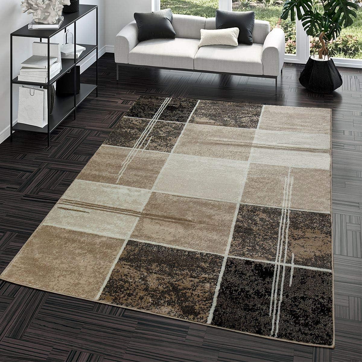 T&T Design Alfombra Salón Moderna Económica Diseño Cuadros Marrón Beige Crema Mejor Precio, Größe:240x340 cm