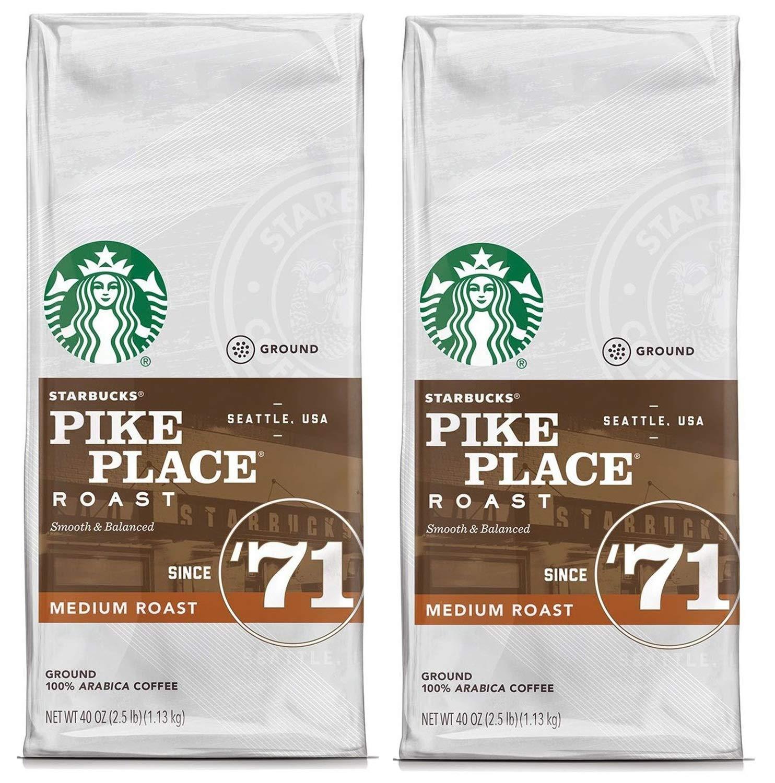 Starbucks Pike Place Medium Roast Ground Coffee, 40 Ounce (Pack of 2)