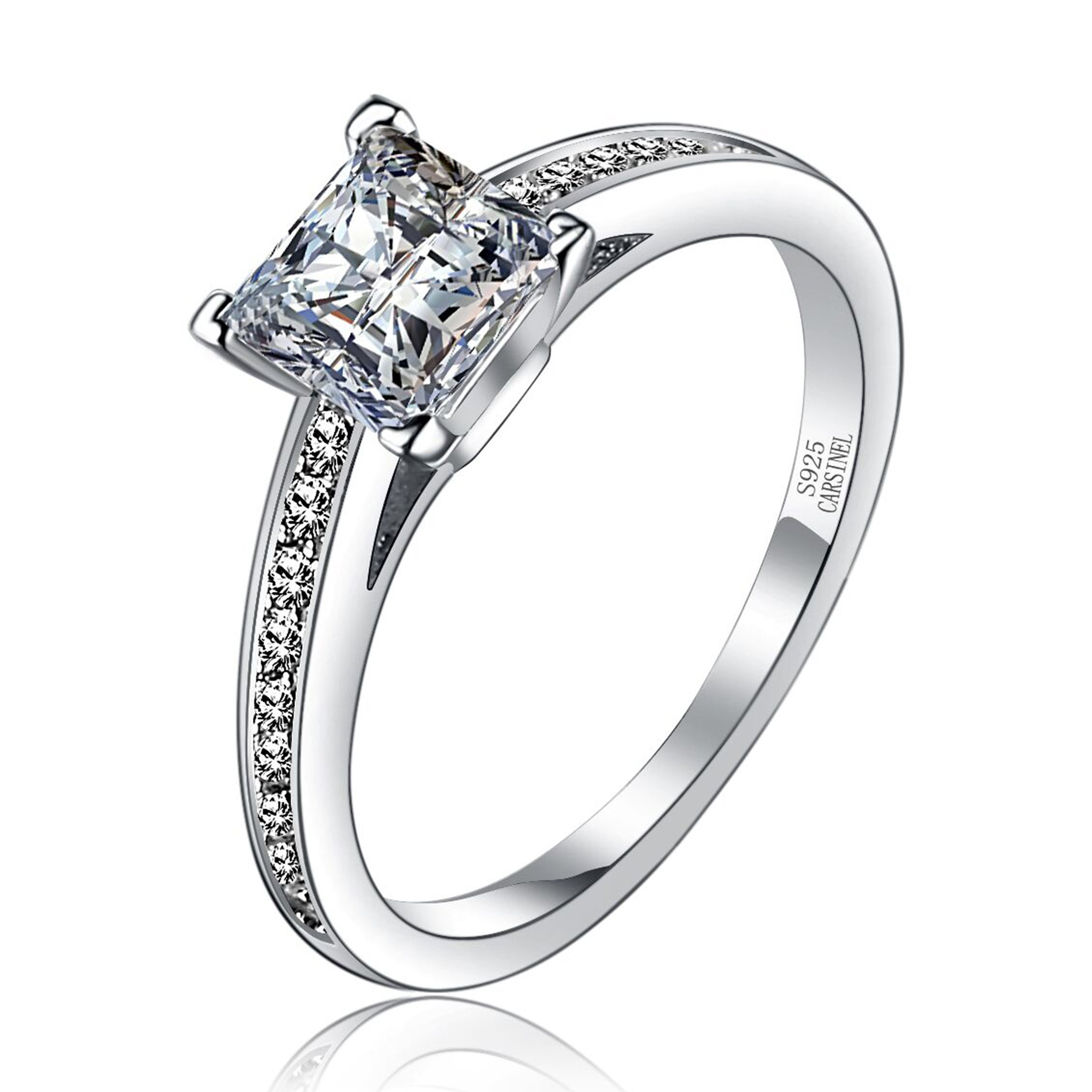 CARSINEL 1.25 Carat Princess Cut Cubic Zirconia 925 Sterling Silver Promise Wedding Engagement Ring Sizes 5 to 8 (6)