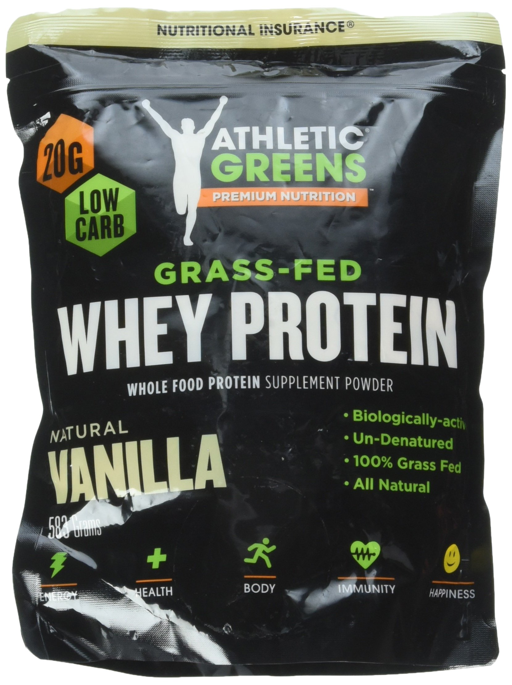 Athletic Greens Grass-Fed Whey Protein, Natural Vanilla - Deliciously Smooth Protein Shake, 100% Grass-Fed (No Hormones, Certified No GMOs), 20g of Protein Per Serving, 583 grams